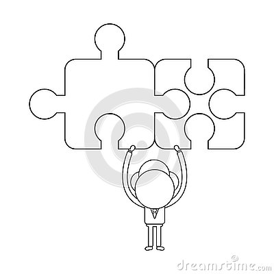 Free Vector Concept Of Businessman Character Holding Up Two Connected Stock Photography - 129187802