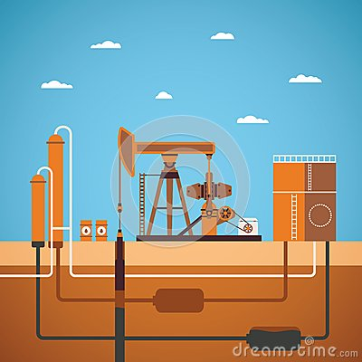 Free Vector Concept Of Equipped Oil Well Royalty Free Stock Photography - 47097537