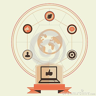 Vector concept of social media and marketing