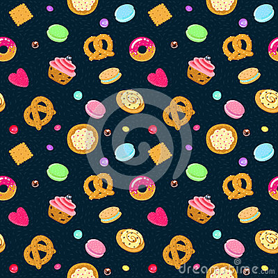 Free Vector Confection And Sweets Seamless Pattern With Pastries, Candies, Pretzels And Muffin Royalty Free Stock Photos - 53592518