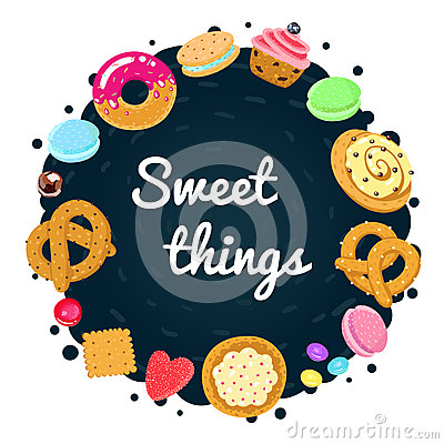 Free Vector Confections And Sweets Background And Card With Pastries, Candies, Pretzels And Muffin Stock Image - 59500331