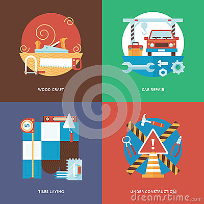 Free Vector Constructing Craft, Services And Decoration Set For Web Design And Mobile Apps. Royalty Free Stock Images - 58462999