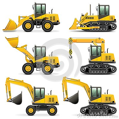 Free Vector Construction Machines Set 3 Stock Images - 33478814