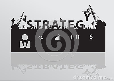 Vector construction site crane building strategy t