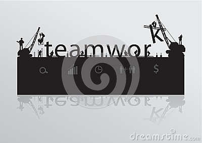 Vector construction site crane building teamwork t