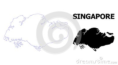 Vector Contour Dotted Map of Singapore with Name Vector Illustration