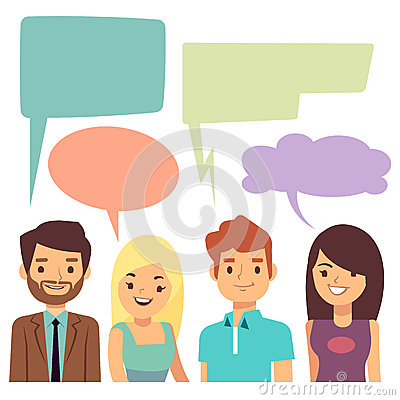 Vector conversation concept with people and blank thinking bubbles Vector Illustration
