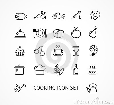 Free Vector Cooking Outline Icon Set Royalty Free Stock Photos - 53366948