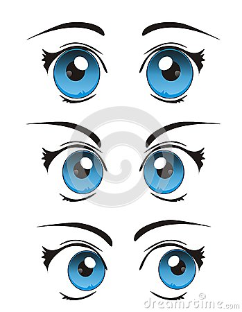 Vector cool realistic cartoon eyes