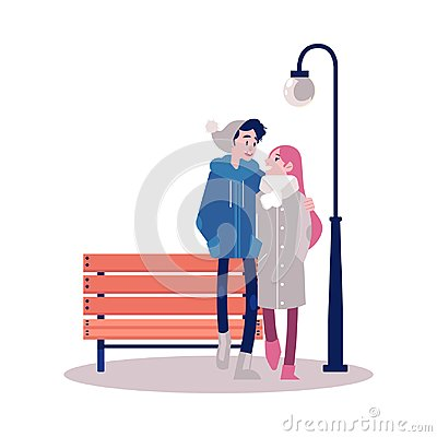 Free Vector Couple Walking Outdoors At Autumn Stock Photography - 124418462