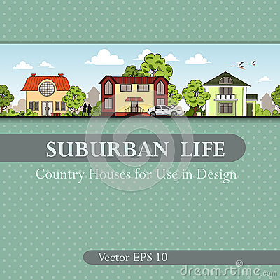 Free Vector Cover With Country Houses For Use In Design Royalty Free Stock Images - 40948449