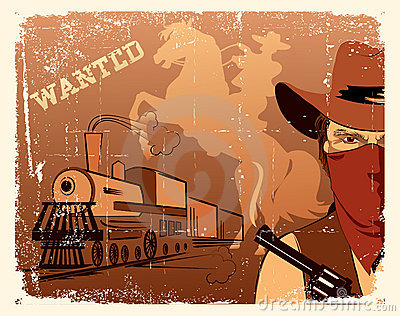 Vector cowboy andlocomotive. Western