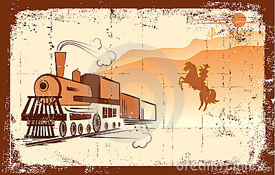 Vector cowboy and locomotive.
