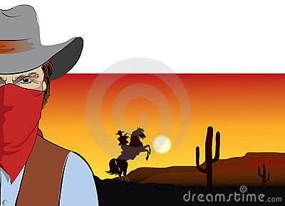 Vector  cowboy with mask.Bandit