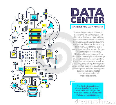 Free Vector Creative Concept Illustration Of Data Center With Header Stock Photo - 74498240