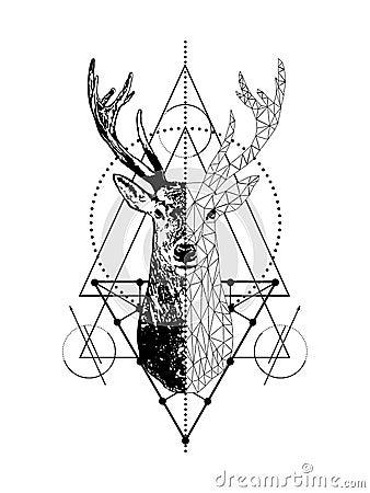 Vector creative geometric deer tattoo art style design.Low poly deer head with triangle. Cartoon Illustration