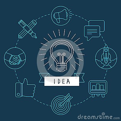 Vector creative idea concept in outline style