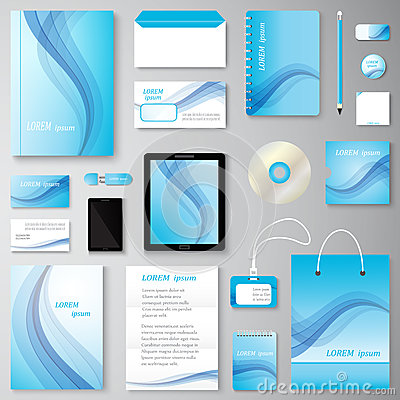 Free Vector Creative Wave Corporate Identity Set Of Stationery Branding. Royalty Free Stock Photo - 76887525
