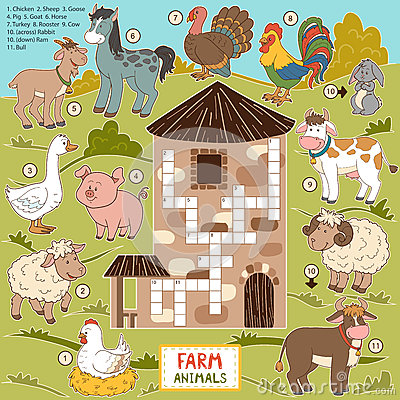 Free Vector Crossword, Education Game For Children About Farm Animals Royalty Free Stock Images - 59013259