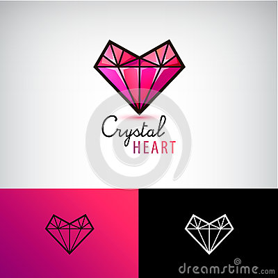 Free Vector Crystal Heart Icon, Jewelry Logo. Love, Diamond, Stock Images - 81653144