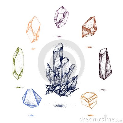 Free Vector Crystal Icon, Diamond Illustration With Tattoo Effect Stock Image - 110783301