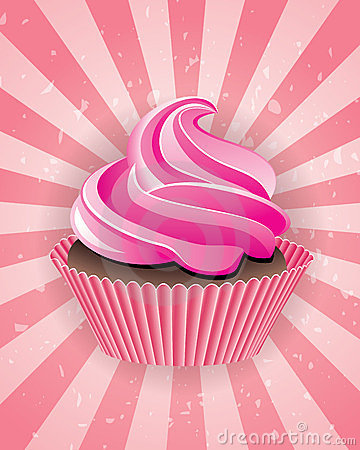 vector cupcake on retro background