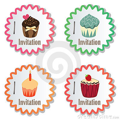 vector cupcakes on paper stickers