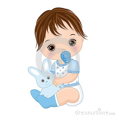 Free Vector Cute Baby Boy With Toy Bunny. Vector Baby Boy Shower Royalty Free Stock Photos - 118447018