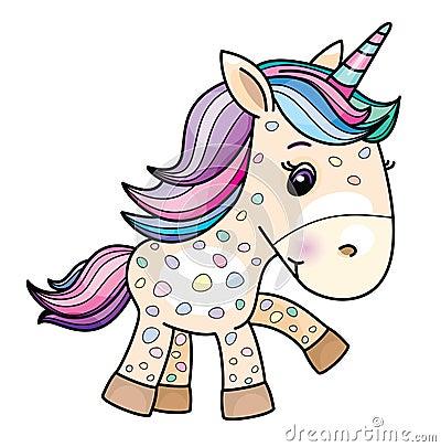 Free Vector Cute Baby Unicorn Cartoon. Royalty Free Stock Photography - 119977317