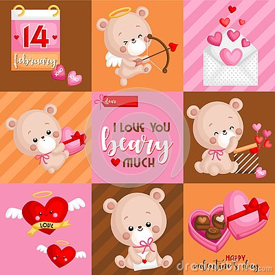 A Vector of Bears Card for Celebrating Valentine's Day in Square Composition with saying I Love You Beary Much Vector Illustration