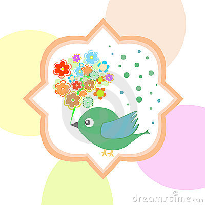 Vector cute bird with flowers happy birthday autumn card