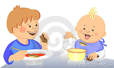 Vector Cute kids eat