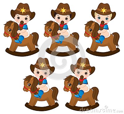 Free Vector Cute Little Baby Boys Dressed As Cowboys Stock Photo - 118416510