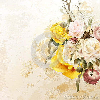Free Vector Cute Roses In Vintage Style For Design Stock Photos - 64424353