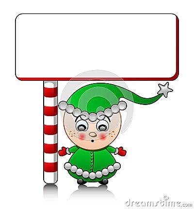Vector cute Santa helper boy with blank