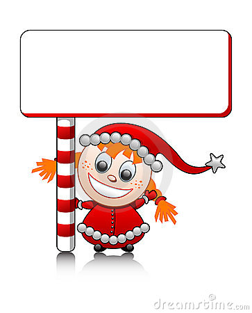 Vector cute Santa helper girl with blank