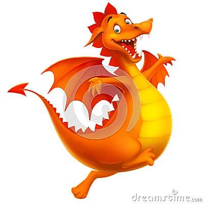 Vector cute smiling happy dragon as cartoon or toy
