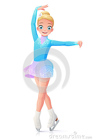 Vector Cute Smiling Young Girl Figure Skating On Ice