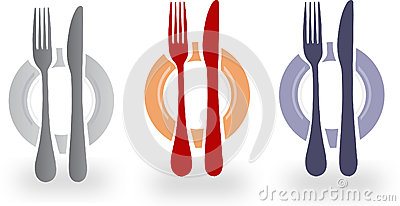 Illustration of cutlery and plate