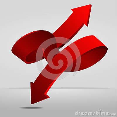 Vector 3D Red Spiral Arrow Dual Directions Pointer Sign.