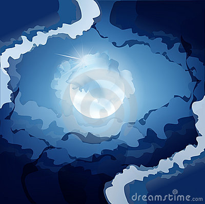Vector dark blue night sky and the moon