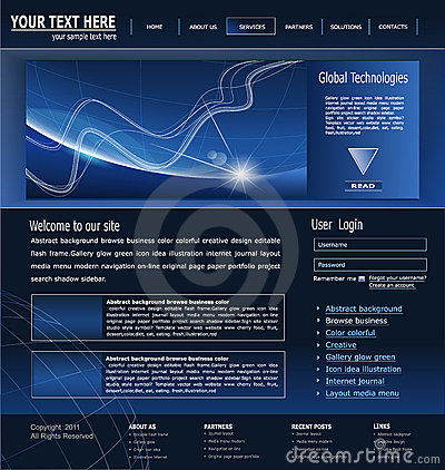 Vector dark blue site about business