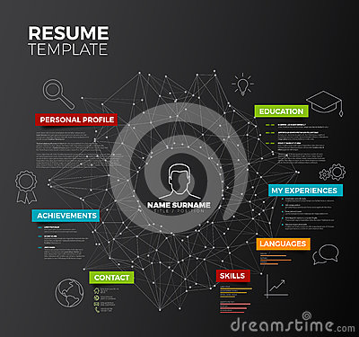 Free Vector Dark Original Minimalist Cv  Stock Images - 72931154