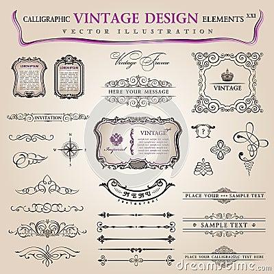 Vector de elementendecoratie van het reeks kalligrafische ontwerp
