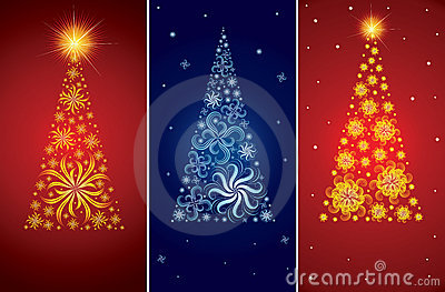 Vector decorative Christmas tree backgrounds