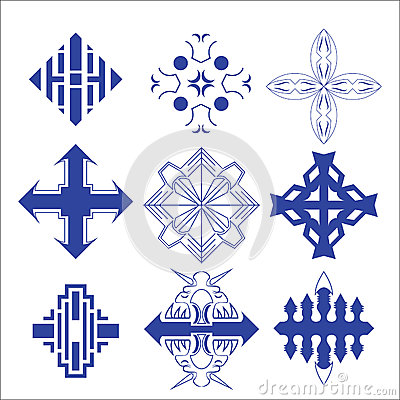 Vector of decorative cross and logo