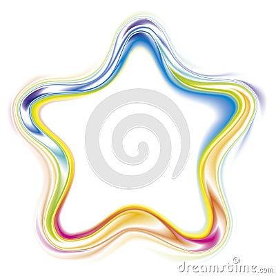 Vector decorative frame of a  rainbow stars