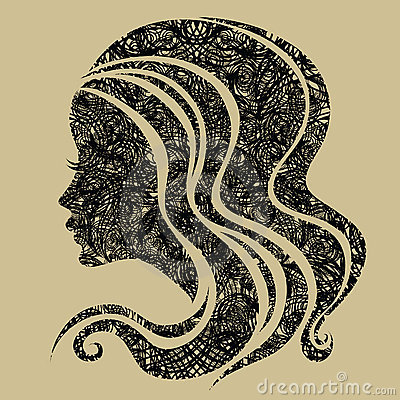 Vector Decorative grunge portrait of woman