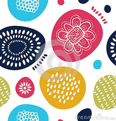 Free Vector Decorative Pattern In Scandinavian Style. Abstract Background With Colorful Simple Shapes. Royalty Free Stock Photography - 64283967