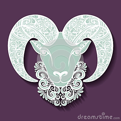 Free Vector Decorative Sheep With Patterned Horns Royalty Free Stock Photo - 45551755